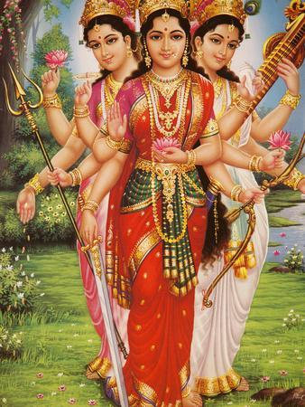 Picture of Hindu Goddesses Parvati, Lakshmi and Saraswati, India, Asia
