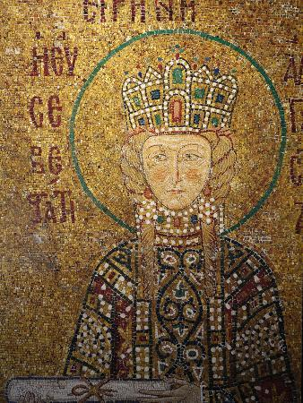 Mosaic of Empress Irene Holding a Scroll, Hagia Sophia, Istanbul, Turkey, Europe