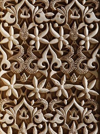 Detail, Nasride Palace Sculptures, Alhambra, UNESCO World Heritage Site, Granada, Andalucia, Spain,