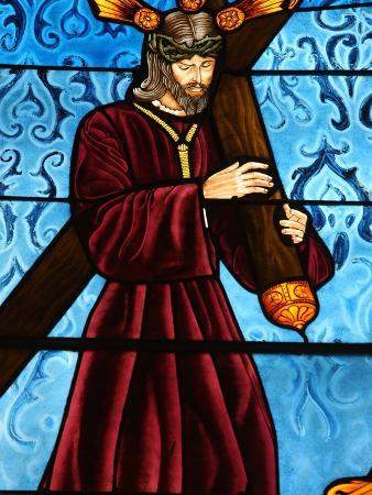 Stained Glass of Jesus Carrying His Cross, San Jeronimo's Church, Madrid, Spain, Europe