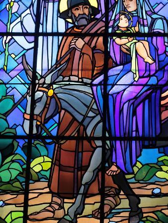 Stained Glass by Raphael Lardeur of the Flight into Egypt, St. Joseph De Chedde Church, Haute-Savoi