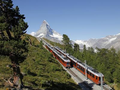 Gornergrat Railway in Front of the Matterhorn, Riffelberg, Zermatt, Valais, Swiss Alps, Switzerland
