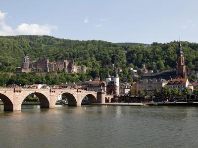 Old Bridge over the River Neckar, Old Town and Castle, Heidelberg, Baden-Wurttemberg, Germany, Euro
