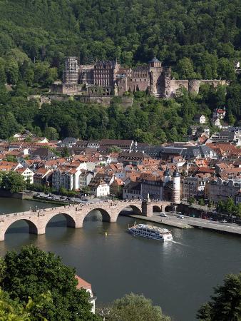 Old Bridge over the River Neckar, Old Town and Castle, Heidelberg, Baden-Wurttemberg, Germany, Euro