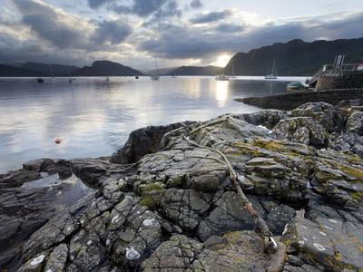 View over Loch Carron at Dawn from Rocks Near the Harbour, Plockton, Kintail, Highlands, Scotland,