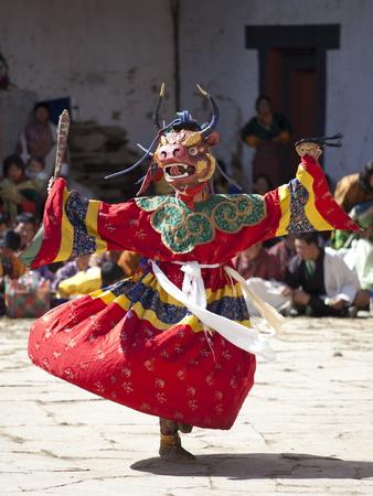 Buddhist Monks Performing Masked Dance During the Gangtey Tsechu at Gangte Goemba, Gangte, Phobjikh