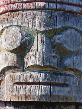 Weathered Face on Totem Pole Outside the Maritime Museum, Vancouver, British Columbia, Canada, Nort