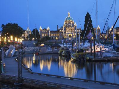 Inner Harbour and Parliament Building, at Night, Victoria, Vancouver Island, British Columbia, Cana