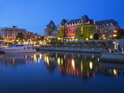 Inner Harbour with the Empress Hotel at Night, Victoria, Vancouver Island, British Columbia, Canada