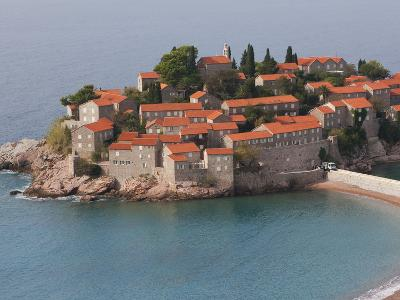 Beach and Houses on the Hotel Island at Sveti Stefan on the Adriatic Coast, Sveti Stefan, Montenegr