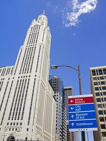 Leveque Tower and Road Signs, Columbus, Ohio, United States of America, North America