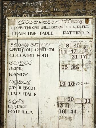 Timetable for the Colombo to Badulla Train at Pattipola, Highest Railway Station in Sri Lanka, 1892