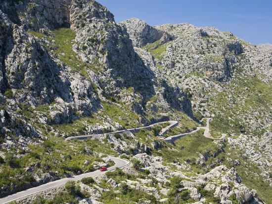 the winding mountain road to sa calobra mallorca balearic islands