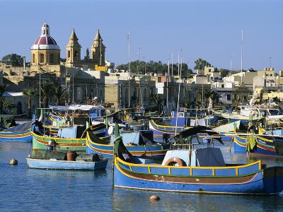 View across Harbour with Traditional Luzzu Fishing Boats, Marsaxlokk, Malta, Mediterranean, Europe