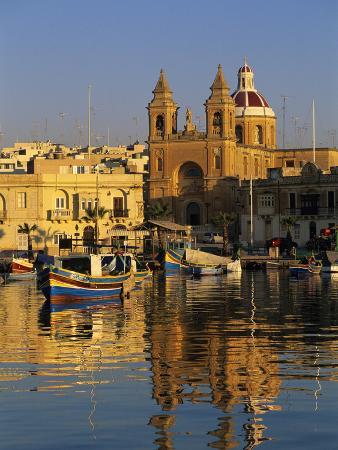 Harbour with Luzzu Fishing Boats and Marsaxlokk Parish Church at Sunrise, Marsaxlokk, Malta, Medite