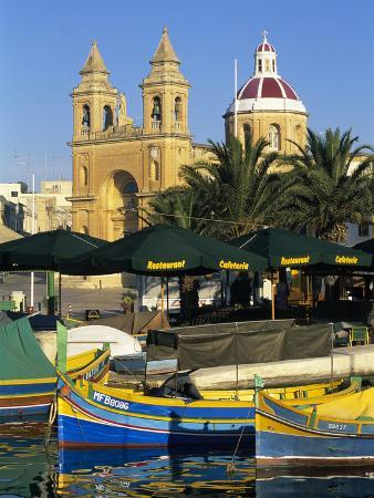 Harbour with Luzzu Fishing Boats and Marsaxlokk Parish Church, Marsaxlokk, Malta, Mediterranean, Eu