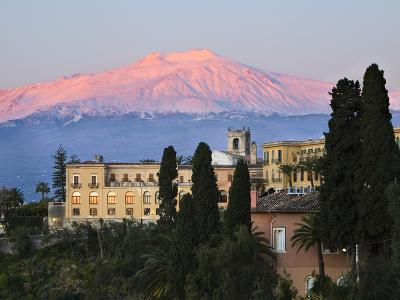 Sunrise over Taormina and Mount Etna with Hotel San Domenico Palace, Taormina, Sicily, Italy, Europ