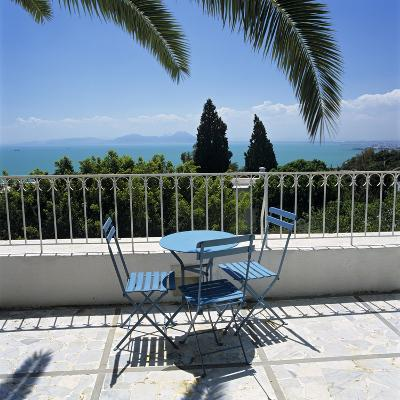 View over Bay of Tunis from Terrace of Dar Said Hotel, Sidi Bou Said, Tunisia, North Africa, Africa