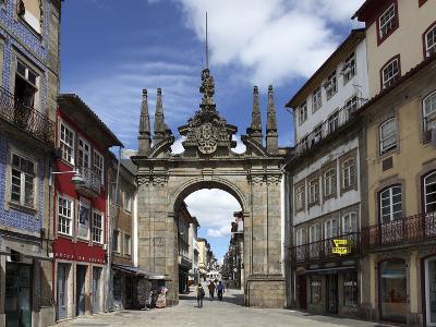 The Arco Da Porta Nova, Baroque Style City Gate, and Rua Diogo De Sousa, Braga, Minho, Portugal, Eu