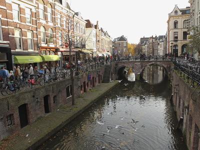 The Busy Vismarkt Shopping Street Runs Along the Oudegracht Canal in Utrecht, Utrecht Province, Net