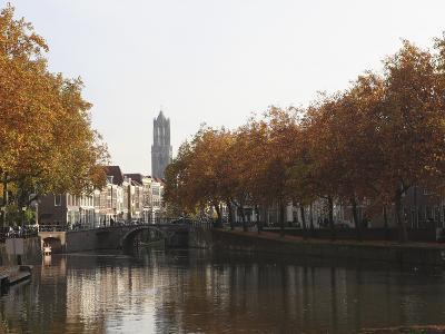 The Dom Tower and Canal Waterway on a Sunny Autumn Day, Utrecht, Utrecht Province, Netherlands, Eur