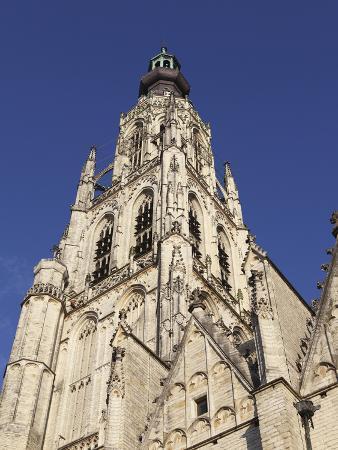 Spire of the Late Gothic Grote Kerk (Onze Lieve Vrouwe Kerk) (Church of Our Lady) in Breda, Noord-B