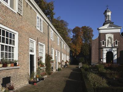Chapel and Brick Housing Within the Courtyard of the Begijnhof (Beguinage) in Breda, Noord-Brabant,