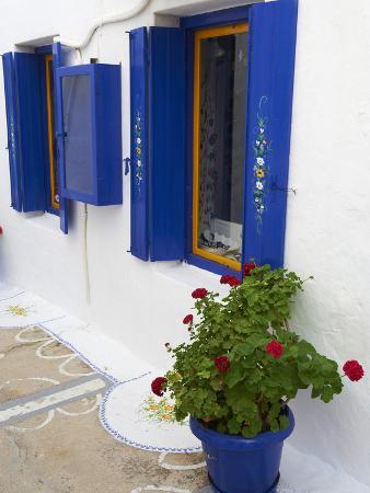 Blue Shutters, Plaka, Old Village, Milos, Cyclades Islands, Greek Islands, Greece, Europe