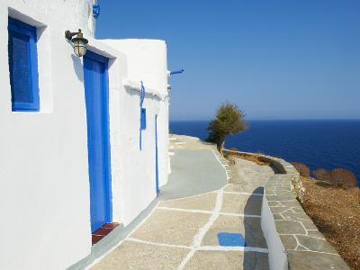 Blue Door and Shutters, Kastro Village, Sifnos, Cyclades Islands, Greek Islands, Aegean Sea, Greece