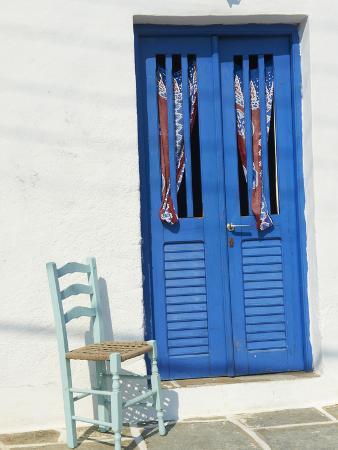 Blue Door in the Old Village of Kastro, Sifnos, Cyclades Islands, Greek Islands, Greece, Europe
