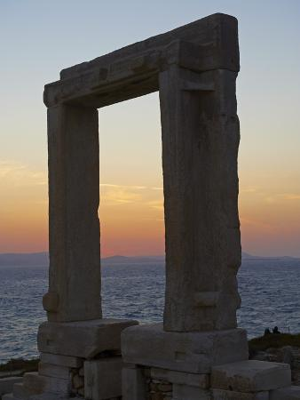 Gateway, Temple of Apollo, at the Archaeological Site, Naxos, Cyclades Islands, Greek Islands, Aege
