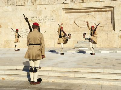 Evzone, Greek Guards During the Changing of the Guard Ceremony, Syntagma Square, Parliament Buildin