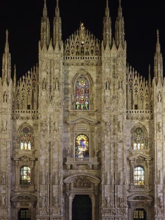Duomo at Night, Milan, Lombardy, Italy, Europe