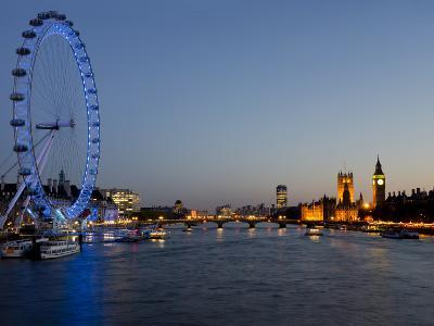 Houses of Parliament, Westminster and London Eye at Dusk, London, England, United Kingdom, Europe