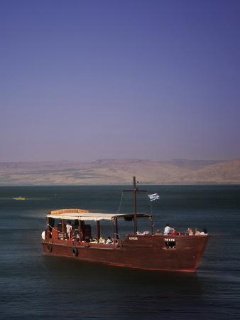 Tourist Boat on Lake Tiberias, the Sea of Galilee, North Israel, Israel, Middle East