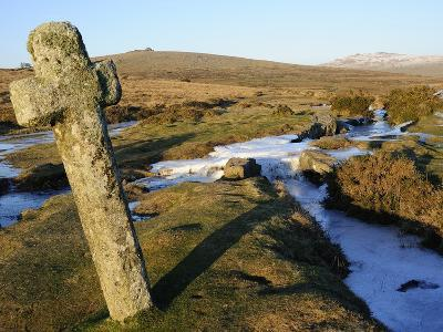 Ancient Cross in Winter, Whitchurch Common, Dartmoor National Park, Devon, England, United Kingdom,
