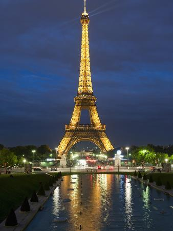 Eiffel Tower and Reflection at Twilight, Paris, France, Europe