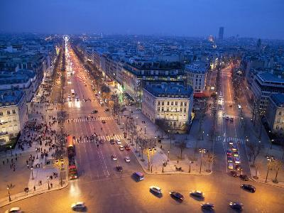 The Champs Elysees at Night from the Arc De Triomphe, Paris, France, Europe