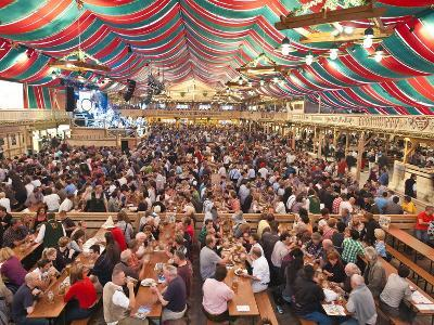 Beer Hall at the Stuttgart Beer Festival, Cannstatter Wasen, Stuttgart, Baden-Wurttemberg, Germany,