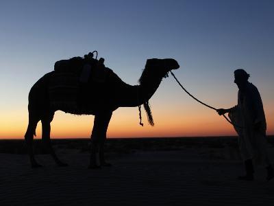 Camel Driver at Dusk in the Sahara Desert, Near Douz, Kebili, Tunisia, North Africa, Africa