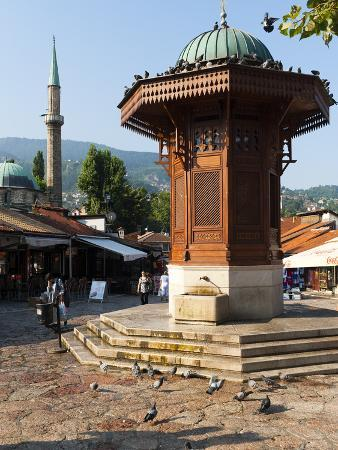 Sebilj Fountain in Pigeon Square, Sarajevo, Bosnia and Herzegovina, Europe
