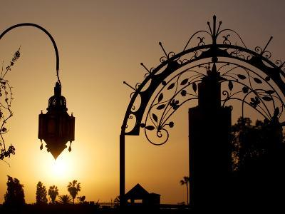 Minaret of the Koutoubia Mosque at Sunset, Marrakesh, Morocco, North Africa, Africa