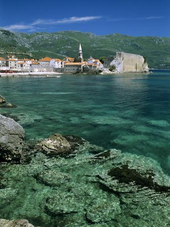 Clear Waters in Front of the Old Town, Budva, the Budva Riviera, Montenegro, Europe