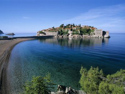 View of Island and Beach, Sveti Stefan, the Budva Riviera, Montenegro, Europe