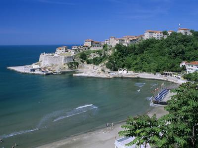 View over Beach to the Old Fortified City, Ulcinj, Haj-Nehaj, Montenegro, Europe