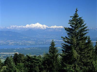 Mont Blanc Range Viewed from Col De La Faucille, Near Gex, Rhone Alpes, France, Europe