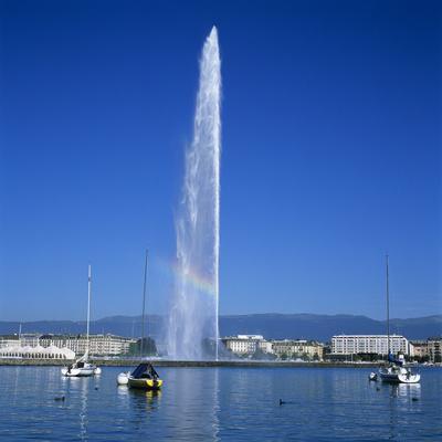 Jet D'Eau (Water Jet), Geneva, Lake Geneva (Lac Leman), Switzerland, Europe