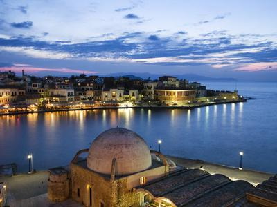 Venetian Harbour and Mosque of the Janissaries at Dusk, Chania (Hania), Chania Region, Crete, Greek