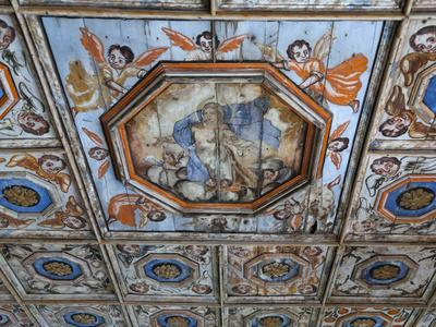 Ceiling of Gothic Church, Chapel of Our Lady of the Rocks, Beram, Istria, Croatia, Europe