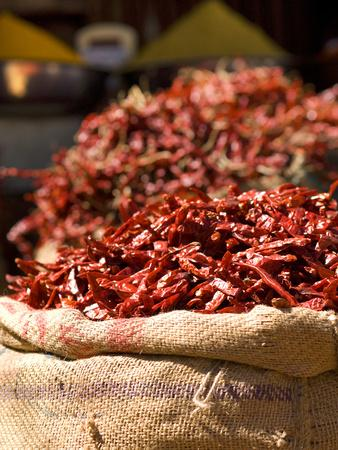 Chillies on Market Stall, Udaipur, Rajasthan, India, Asia